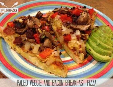paleo veggie and bacon breakfast pizza paleohacks