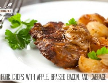 Pork Chops With Apple, Braised Bacon, And Cabbage