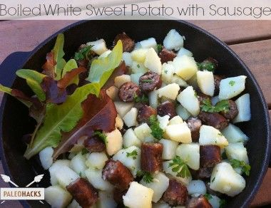 Boiled White Sweet Potato with Sausage - Paleohacks