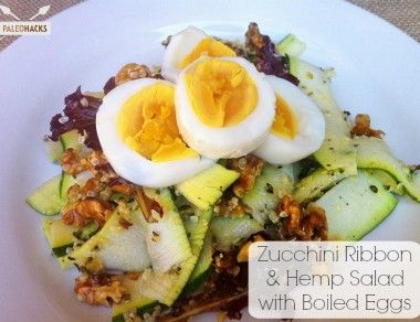 Zucchini Ribbon and Hemp Salad with Boiled Eggs