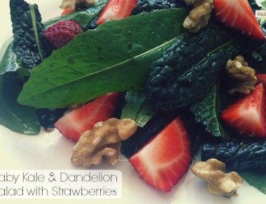 Baby Kale & Dandelion Salad with Strawberries