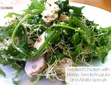 Smoked Chicken with Hemp Seeds, Arugula & Alfalfa Sprouts