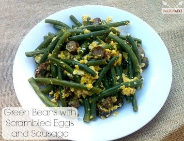 Green Beans with Scrambled Eggs and Sausages