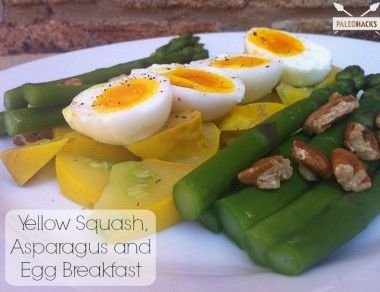 Yellow Squash, Asparagus and Egg Breakfast