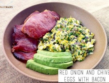 Red Onion and Chive Eggs with Bacon