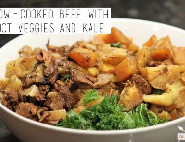 Slow Cooked Beef With Root Veggies and Kale