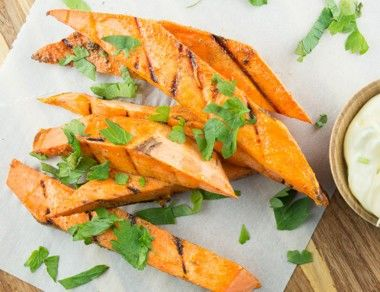 Grilled Sweet Potato Fries with Garlic Chive Aioli
