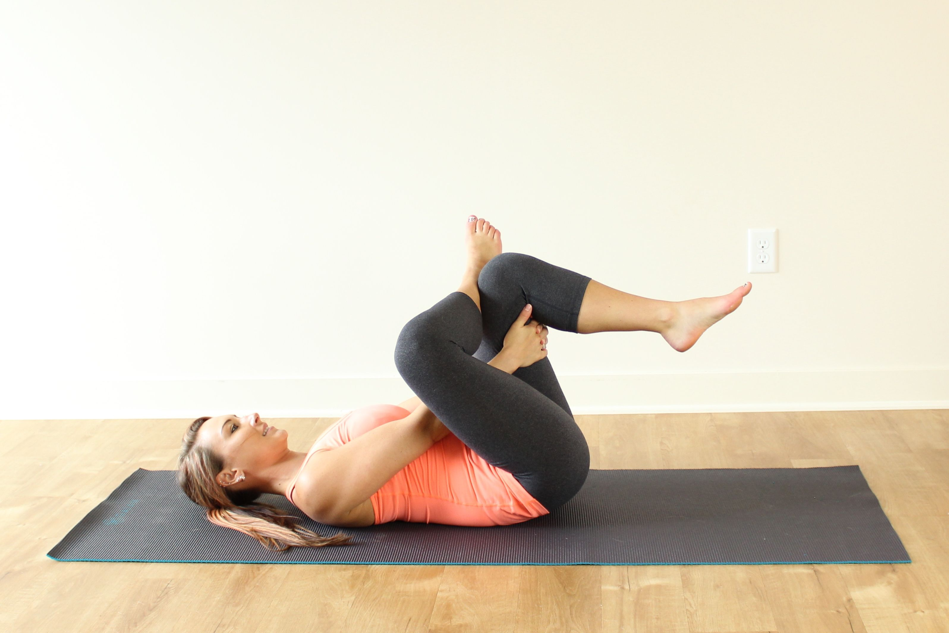 Lay On Your Back With Feet Flat The Floor And Knees Bent Cross RIGHT Ankle Over LEFT Knee As If Making A Figure 4