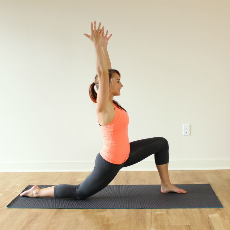 ... In A Runneru0027s Lunge With Your RIGHT Foot Forward And Your Hands On The  Mat On Either Side Of Your Front Foot. Lower Your Back Knee And Shin To The  Floor ...