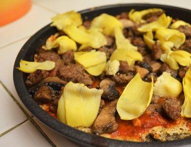 Savory Mushroom, Sausage & Artichoke Paleo Pizza Crust