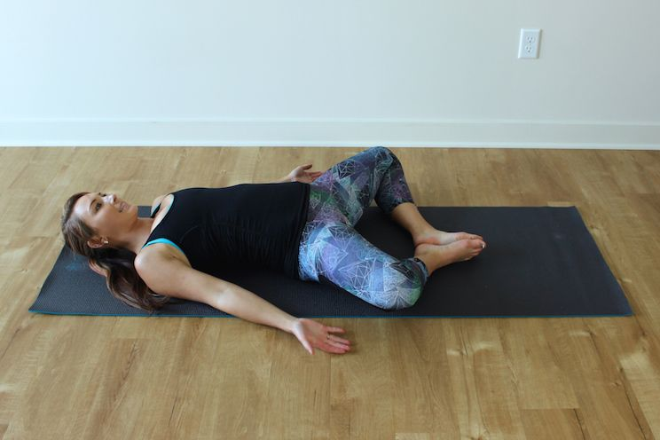 Start By Laying On Your Back With Knees Bent And Feet Flat The Mat Open Arms Out To Side At About 45 Degrees Away From Body