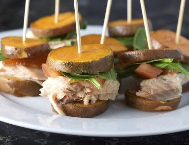 Salmon Bites with Sweet Potato 'Buns'
