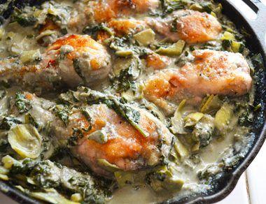 Creamy Spinach Artichoke Chicken Dinner