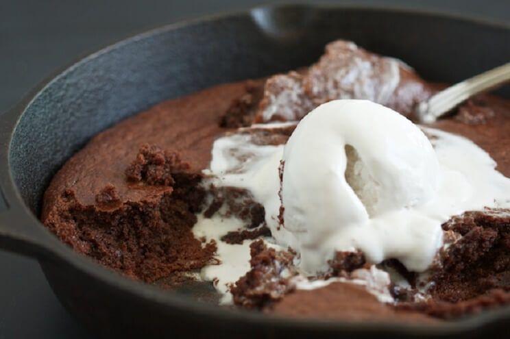 Gooey Chocolate Fudge Cake In A Cast Iron Skillet