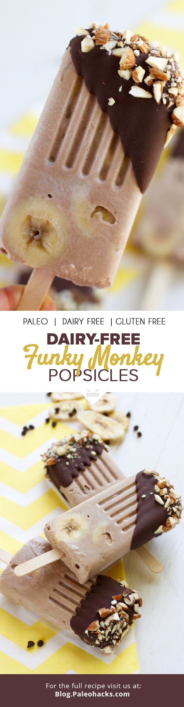 Chocolate Banana Funky Monkey Popsicles Dairy Free
