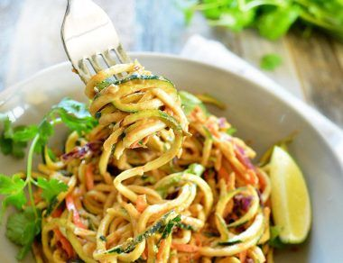 Spicy Sesame Almond Zucchini Noodles
