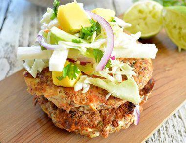 Salmon Burgers with Mango Jicama Slaw