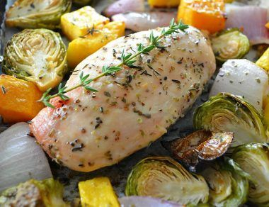 One-Pan Harvest Chicken Dinner with Brussels Sprouts and Butternut Squash