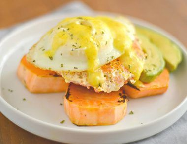 Salmon Eggs Benedict with Sweet Potato 'Muffins'