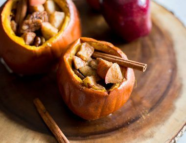 pumpkins stuffed with caramelized cinnamon apples featured image