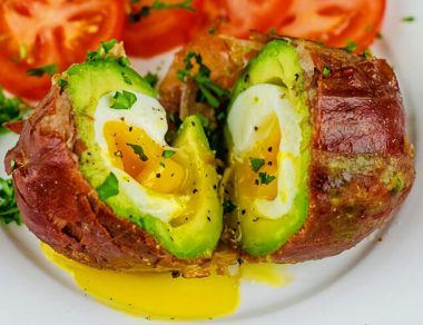 prosciutto-wrapped avocado egg title card