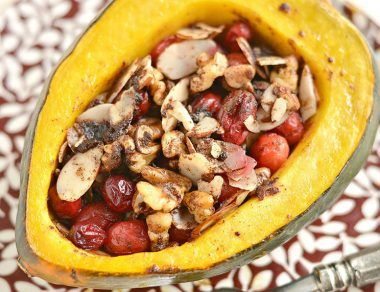 Cranberry Stuffed Acorn Squash Stuffed with Cranberries and Walnuts