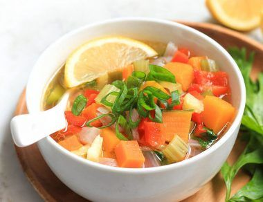 cozy rainbow vegetable soup featured image