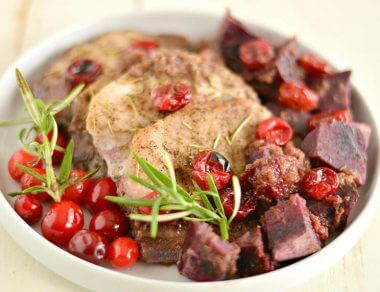Rosemary Pork Chops with Cranberry Sauce