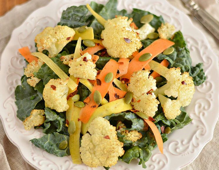 Spicy Roasted Cauliflower, Kale and Carrot Salad