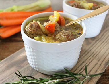 Bone Broth Turmeric Soup with 5-Ingredient Meatballs