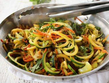 Light, Healthy Chow Mein Made with Zucchini Noodles