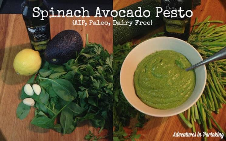 pesto scrambled eggs with spinach and avocado