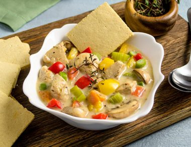 Chicken Pot Pie Soup with Pie Crust Crackers