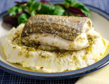 Crispy-Skin Fish & Mashed Cauliflower Drizzled with Oregano Butter