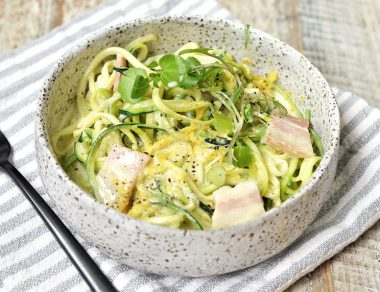 Pasta Carbonara Recipe with Light Zucchini Noodles