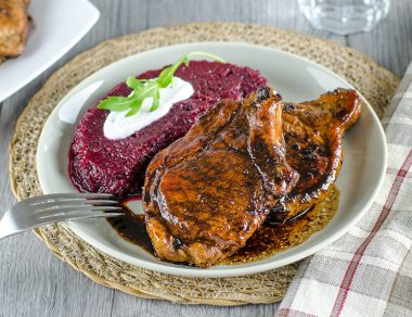 Tangy Sweet Pork Chops with Beet Purée