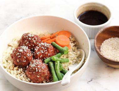Teriyaki Meatball Bowl with Cauliflower Rice and Veggies