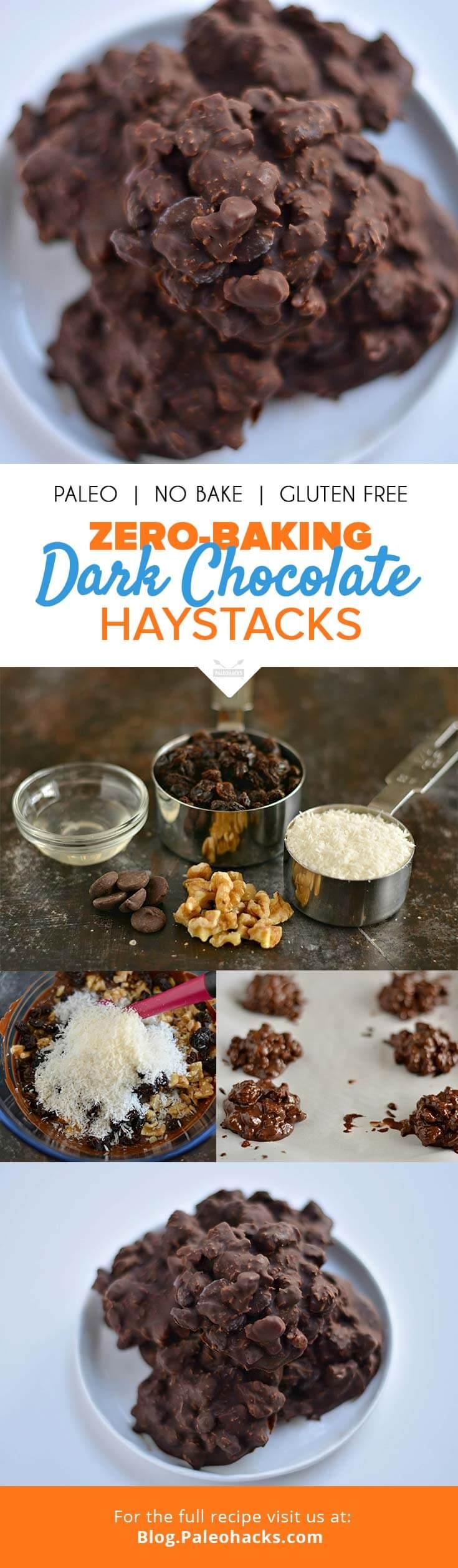 Zero-Baking Dark Chocolate Haystacks | Paleo, Dairy-Free