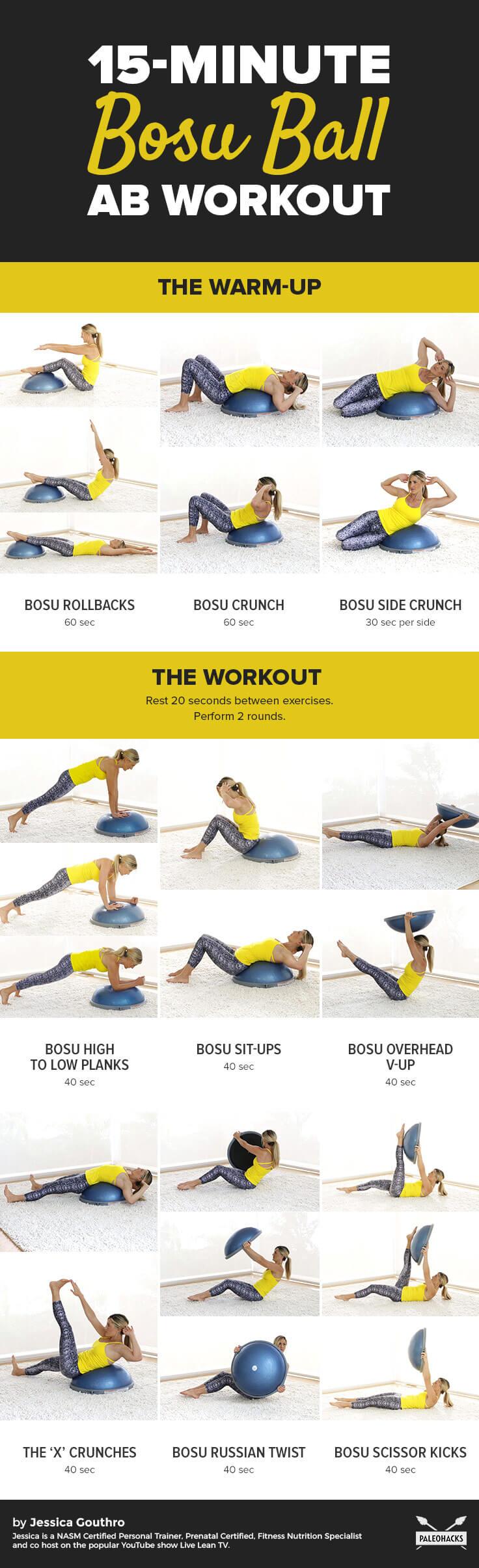 15-Minute Bosu Ball Ab Workout + Warm-up Routine