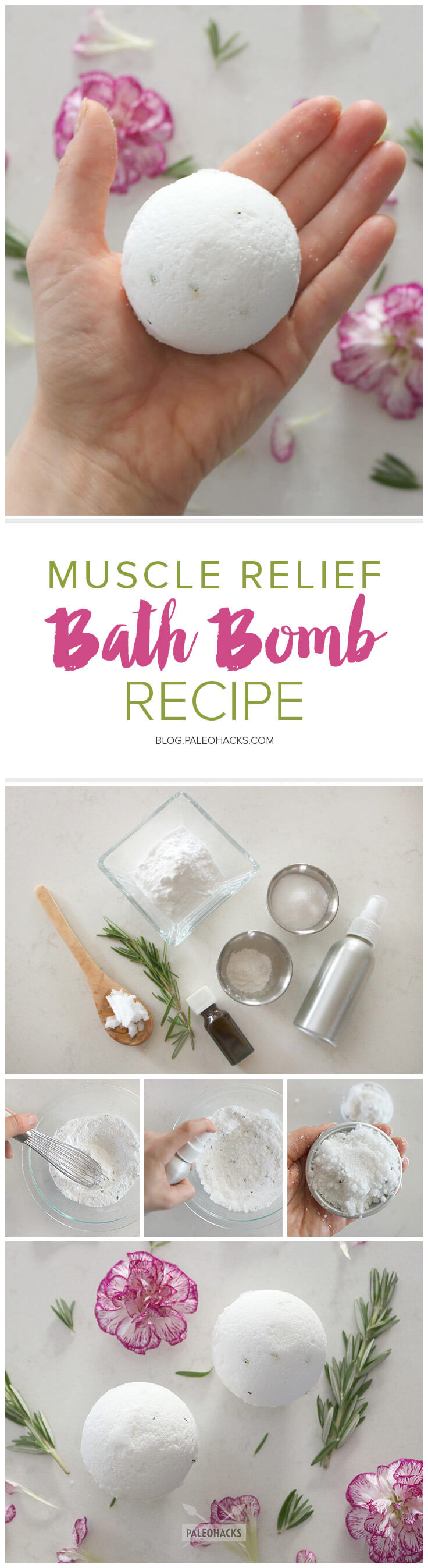 muscle relief bath bomb recipe with coconut and peppermint