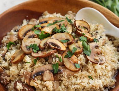 Mushroom Risotto with Cauliflower Rice