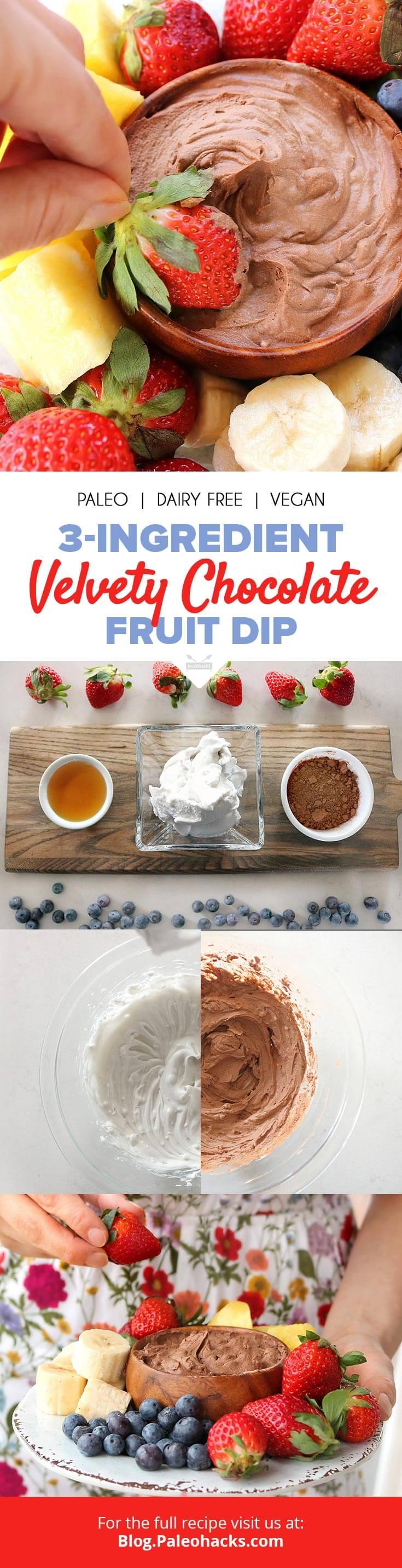3-Ingredient Velvety Chocolate Fruit Dip | Raw, Paleo, Vegan