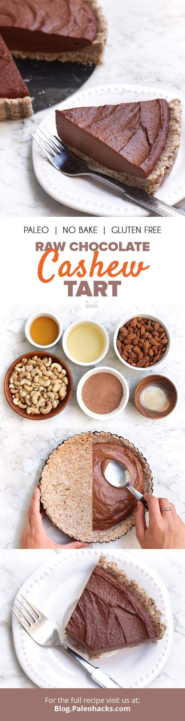 Raw Chocolate Cashew Tart Recipe | Paleo, No Bake