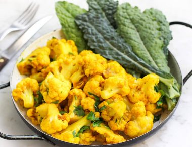 Roasted Curried Cauliflower with Coconut Oil