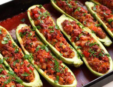 Taco-Stuffed Zucchini Boats