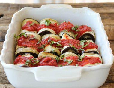 Pasta-Less Eggplant Lasagna Roll-Ups
