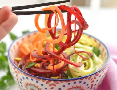 Spicy Rainbow Pasta with All-Veggie Noodles