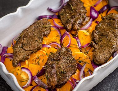 Fancy (But Easy) Roasted Lamb Steaks with Sweet Potatoes