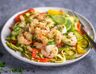 15-Minute Pesto Shrimp Pasta with Zucchini Noodles