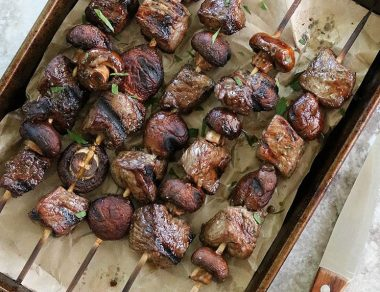 Balsamic Steak and Mushroom Kebobs